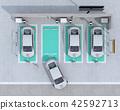 電動汽車的鳥瞰圖充電汽車共享私人停車場 42592713