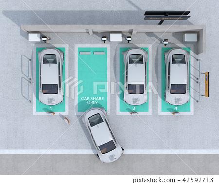 电动汽车的鸟瞰图充电汽车共享私人停车场 42592713