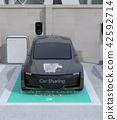 分享私有停車場的電車充電的汽車的前面圖像 42592714