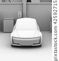 黏土翻譯共享私有停車場的電車充電的汽車的圖像 42592715