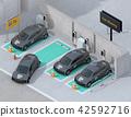 分享私人停車場的電車充電的汽車的等量圖像 42592716