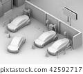 充電汽車的電動汽車的等量黏土翻譯圖像分享私有停車場 42592717