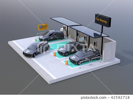 充電對汽車的電車的圖像分享在灰色後面的私有停車場 42592718
