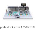 充電汽車的電車的圖像分享在白色後面的私有停車場 42592719