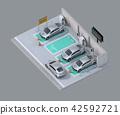 分享私人停車場的電車充電的汽車的等量圖像 42592721