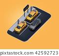 電車的圖像在分享私有停車場的汽車的在智能手機 42592723
