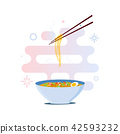 Noodles and chopsticks 42593232