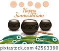 Happy Janmashtami. Indian festival. Dahi handi on Janmashtami, celebrating birth of Krishna. Vector 42593390