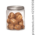 watercolor painting of Walnuts packed in glass jar 42593958