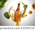 Beer glass with flying ingredients 42594535
