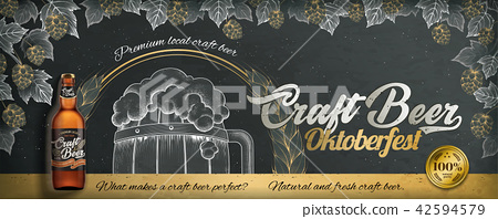 Craft beer engraving style ads 42594579