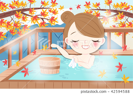 cartoon girl with hot spring 42594588
