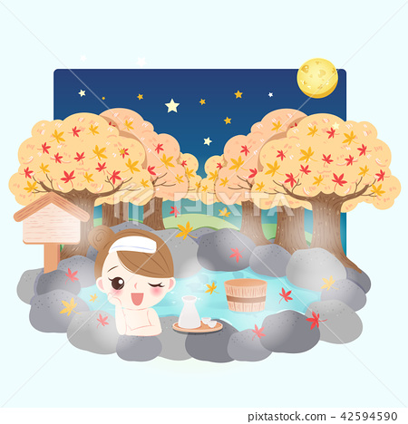 cartoon girl with hot spring 42594590