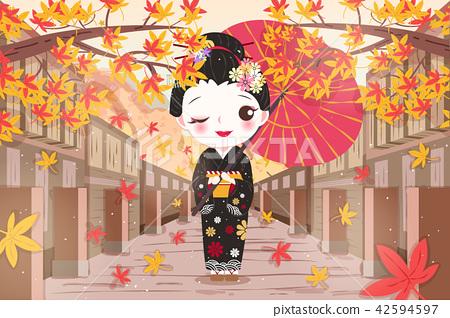 cartoon geisha with maple 42594597