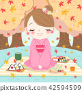 woman at picnic with maple 42594599