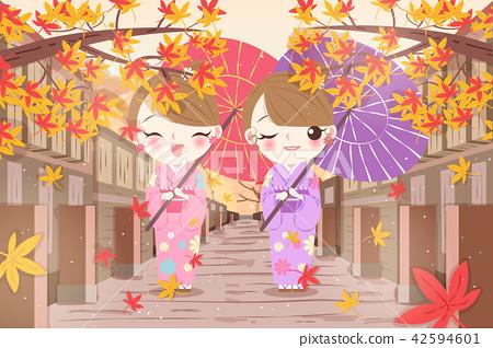 woman wear kimono with maple 42594601