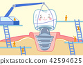 cartoon tooth with dental care 42594625
