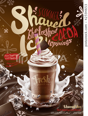 Chocolate syrup ice shaved ads 42594653