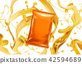 Blank orange foil bag with snack 42594689