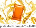 Blank orange foil bag with snack 42594689