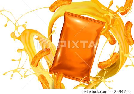 Blank orange foil bag with snack 42594710