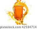 Blank orange foil bag with snack 42594714