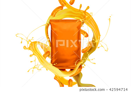 Blank orange foil bag with snack 42594714