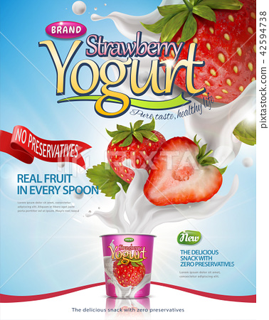 Strawberry yogurt poster 42594738