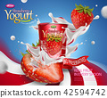 Dynamic strawberry yogurt ad 42594742