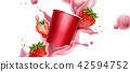 Splashing strawberry yogurt 42594752