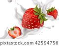 Splashing strawberry yogurt 42594756