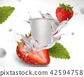 Splashing strawberry yogurt 42594758
