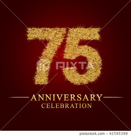 75 years anniversary logo nest and fuzz gold foil  - ภาพประกอบสต็อก