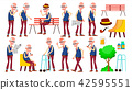 Old Man Poses Set Vector. Elderly People. Senior Person. Aged. Friendly Grandparent. Banner, Flyer 42595551