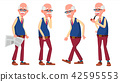 Old Man Poses Set Vector. Elderly People. Senior Person. Aged. Funny Pensioner. Leisure. Postcard 42595553