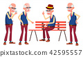 Old Man Poses Set Vector. Elderly People. Senior Person. Aged. Beautiful Retiree. Life. Card 42595557