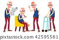Old Man Poses Set Vector. Elderly People. Senior Person. Aged. Active Grandparent. Joy. Presentation 42595561