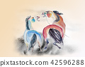 Abstract watercolor paintings of horses. 42596288
