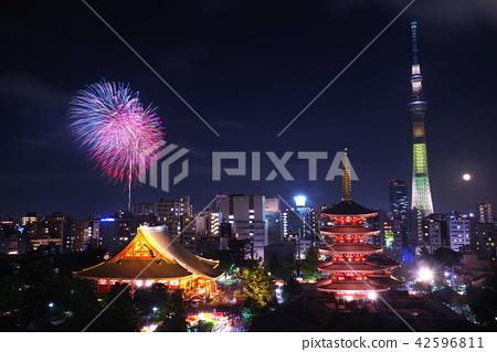 東京和隅川川煙花節和淺草的夜景(天空樹和淺草的點亮) 42596811