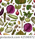 Vegetables vector seamless pattern background 42596972