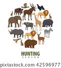 Vector hunting season poster of wild animals 42596977
