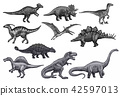 Vector sketch dinosaurs icons set 42597013