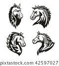 Vector heraldic icons of horse head 42597027