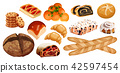 Set vector bread icons. Rye, whole grain and wheat bread, pretzel, muffin, croissant, bagel, french 42597454