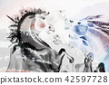 Abstract watercolor paintings of horse. 42597728