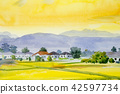 Painting village and rice field in the morning 42597734