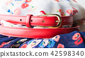Floral pattern dress with red belt 42598340