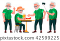 Old Man Poses Set Vector. Elderly People. Senior Person. Aged. Positive Pensioner. Advertising 42599225
