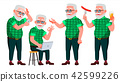 Old Man Poses Set Vector. Elderly People. Senior Person. Aged. Caucasian Retiree. Smile. Web, Poster 42599226