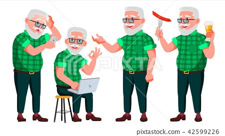 Old Man Poses Set Vector. Elderly People. Senior Person. Aged. Caucasian Retiree. Smile. Web, Poster 42599226